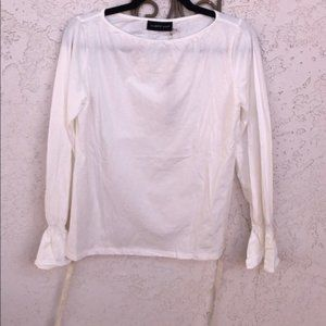 Mustard Seed White Long Sleeve Open Back Top